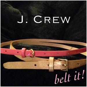 J. Crew Pink & Gold Skinny Belt Bundle