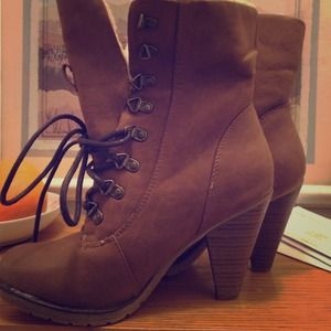 Shi Journeys Lace Up Brown Booties