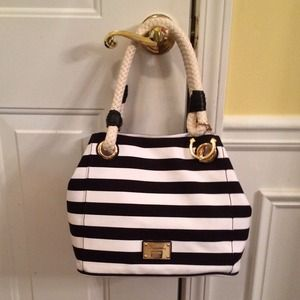 Michael Kors Black & White Canvas Medium Grab Bag