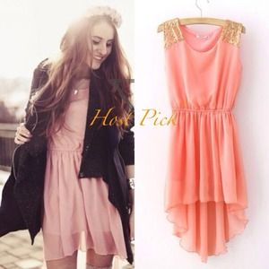 Dresses & Skirts - 🚫SOLD🚫🎉HOST PICK🎉Peachy High Low Chiffon Dress