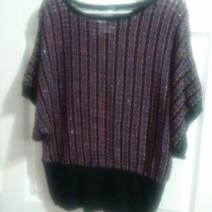 Questions by Say What   Sweaters - Large shiny and multicolored sweater
