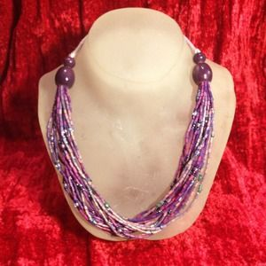Multi-strand beaded necklace.