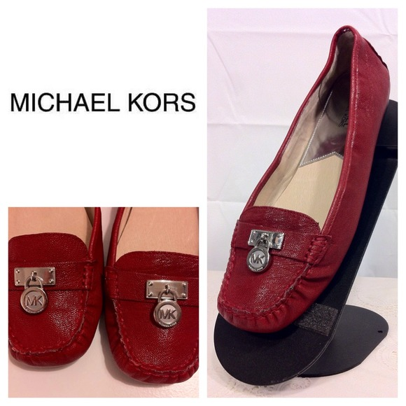 94aedaeefd2 Michael Kors Hamilton Red Leather Flats - Sz 10. M 531ac7e92d249038aa0a82bd