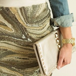 Clutches & Wallets - Silver gold studded clutch