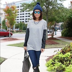 2 tops: 1 new Striped longsleeves shirt, 1 used