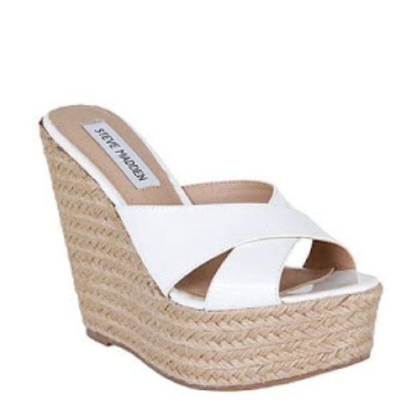 White Steve Madden Patent Leather Wedge