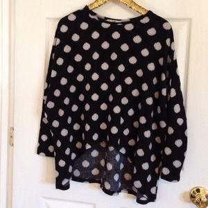 YA Sweaters - YA clothing sweater. Black and white polka dots.