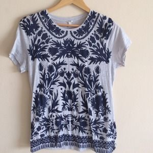 J.Crew NWT Light Blue & Navy Print Tee, M