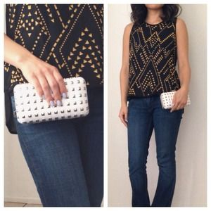 Silver Studded White Clutch