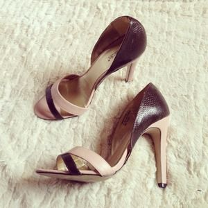 Shoedazzle Shoes - Pink & Brown Colorblock Heels