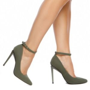 New Olive Green Strappy Pointed Toe Pumps