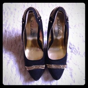 Black Suede Gold Chain Pointed Toe Heels