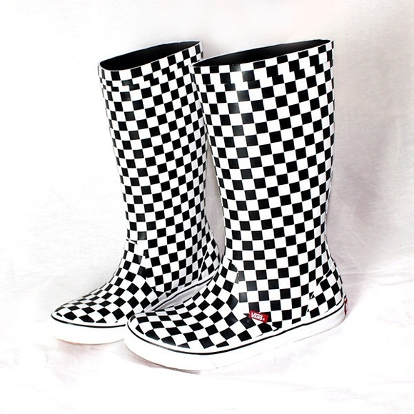 60% off Vans Boots - VANS Rainfall Checkered Wellies Rain Boots ...