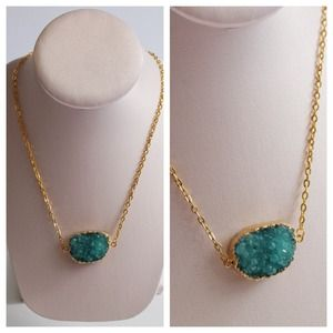LucyMint Jewelry - Marine Blue Druzy Connector Necklace
