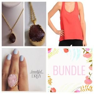 BUNDLE Necklace + Coral Top