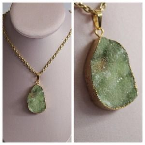 Fresh Green & Gold Plated Druzy Necklace