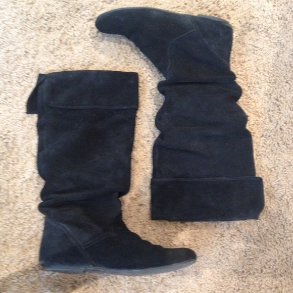 steve madden steve madden black suede flat boots from