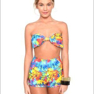Marialia neon tropic bow high waist swimmies