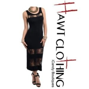 Black lace cut out sleeveless maxi