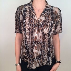 Vintage Tribal Print Button Up Top (DBG Milago)