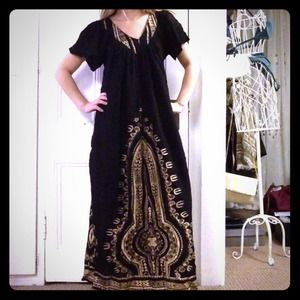Black maxi dress with gold detail
