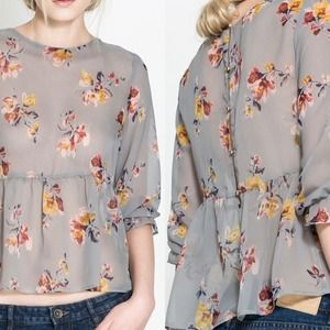 Zara Tops - Zara Floral Sheer Top.