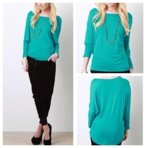 Tops - GORGEOUS Teal Dolman Stretch Jersey Top