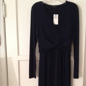 BCBG Navy Front Knot V neck Dress NWT size Medium