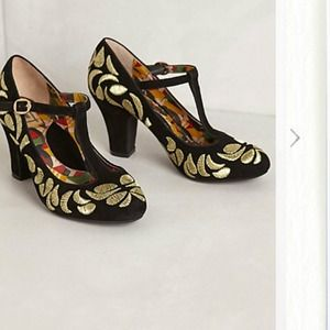 Anthropologie Garland Stitched Heels