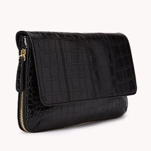 Forever 21 Clutches & Wallets - Black Croc Clutch
