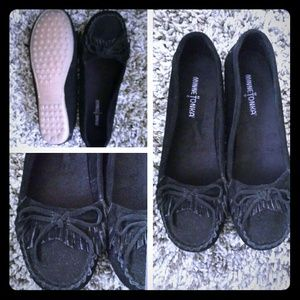 Black minnetonka frayed slip ons