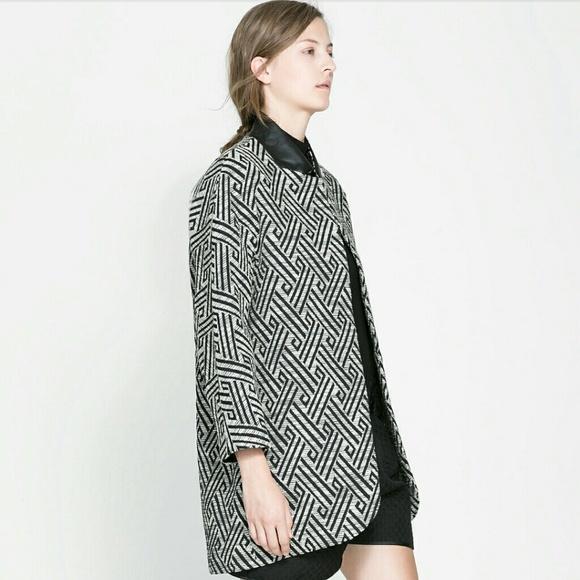 aaee09122 Zara Jackets & Coats | Sold Ebay Black White Jacquard Coat | Poshmark