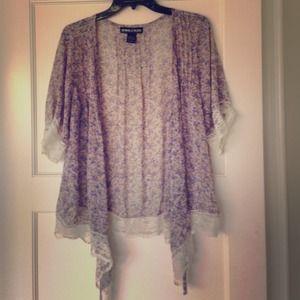 Tops - Purple floral cardigan