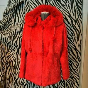 🔹REDUCED! 🔹Rabbit Fur Coat w/ Hood