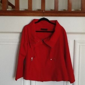 Zara Jackets & Blazers - Cherry red canvass cotton Jacket