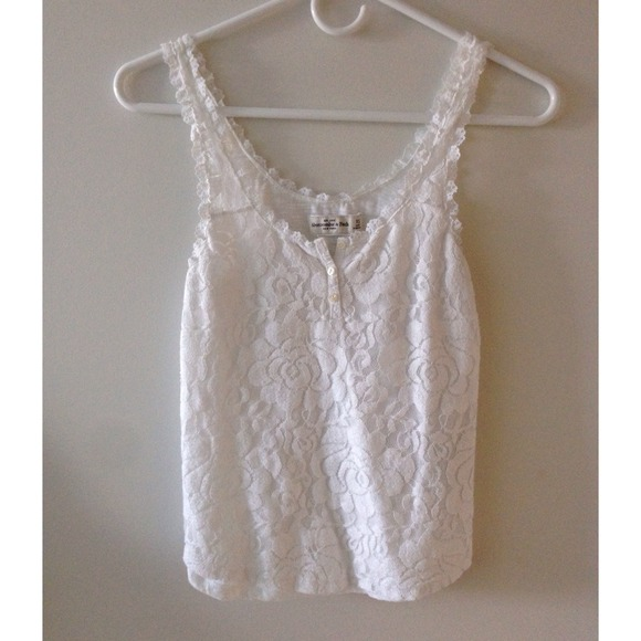 1760d3fb39981 Abercrombie   Fitch Tops - Abercrombie   Fitch White Lace Tank Top