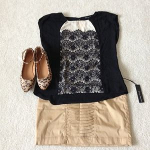 Willi Smith Tops - Reserved! Black & nude lace detail top