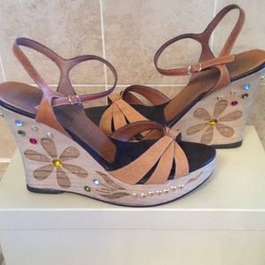 Hype Studded Wooden Jeweled Wedges