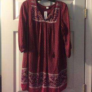 Maroon Print BoHo Dress