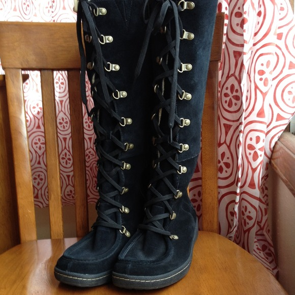 timberland knee high black boots