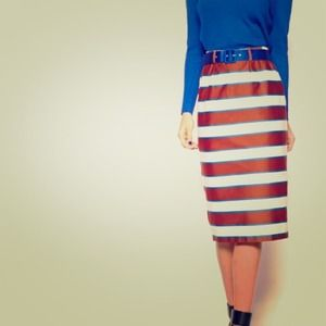 ASOS Stripe Belted Pencil Skirt