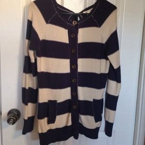 Tulle Sweaters - Oversized striped button up sweater