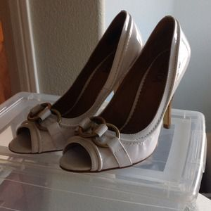 Shoes - White Open-Toe Patent Leather Pumps