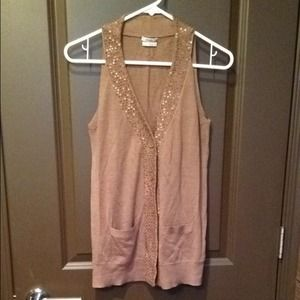Madewell Sweaters - Tan sequin Madewell button down sweater vest