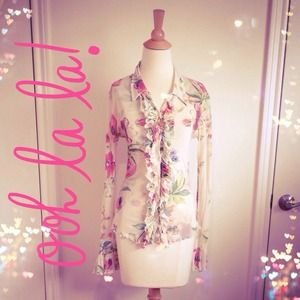 SALE Pastel Floral Ruffled Button-Down Cardigan