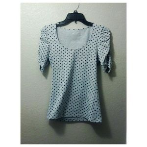 Scoop neck polka dot blouse