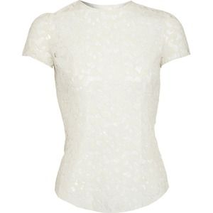 Nina Ricci Ivory Wool Lace SS Top US 10/ EU 44 NWT