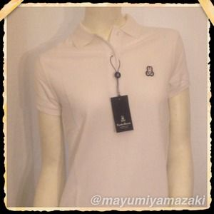 Psycho Bunny Tops - Women's Classic Psycho Bunny White Polo Shirt Sz L