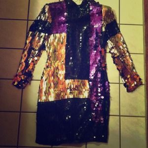 Vintage Gold Purple and Black Shingled Dress