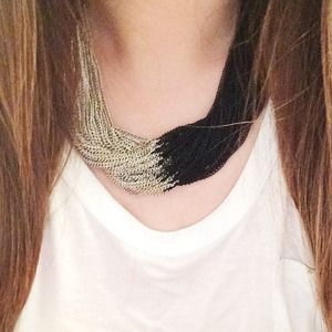 Jewelry - Two Tone Silver Black Chain Necklace